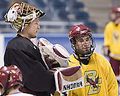 Cory Schneider, Stephen Gionta - The Boston College Eagles practiced at the Bradley Center in Milwaukee, Wisconsin, on April 7, 2006 in preparation for the 2006 Frozen Four Final game vs. the University of Wisconsin on April 8, 2006.