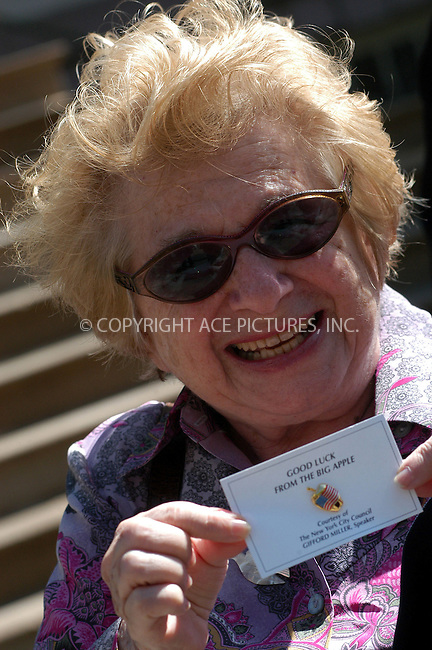 WWW.ACEPIXS.COM . . . . . ....NEW YORK, NEW YORK, MAY 9TH 2005....Dr Ruth Westheimer at a gather on the steps of City Hall to endorse Manhattan District Attorney Robert Morgenthau for election.....Please byline: KRISTIN CALLAHAN - ACE PICTURES.. . . . . . ..Ace Pictures, Inc:  ..Craig Ashby (212) 243-8787..e-mail: picturedesk@acepixs.com..web: http://www.acepixs.com