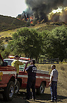 August 18, 2001 Coulterville, California  -- Creek Fire –  CDF fire chiefs make plans for fighting fire on Alan Haigh Ranch.  The Creek Fire burned 11,500 acres between Highway 49 and Priest-Coulterville Road a few miles north of Coulterville, California.