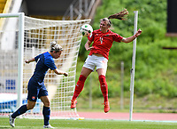 20190304 - LARNACA , CYPRUS : Austrian Viktoria Pinther (r) pictured in a duel with slovakian Patricia Fischerova (left) during a women's soccer game between Slovakia and Austria , on Monday 4 th March 2019 at the GSZ Stadium in Larnaca , Cyprus . This is the third and last game in group C for both teams during the Cyprus Womens Cup 2019 , a prestigious women soccer tournament as a preparation on the Uefa Women's Euro 2021 qualification duels. PHOTO SPORTPIX.BE | DAVID CATRY