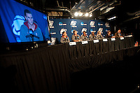 SPOKANE, WA - MARCH 27, 2011: Jeanette Pohlen, Kayla Pedersen, Nnemkadi Ogwumike, Chiney Ogwumike, Lindy La Rocque and Head Coach Tara VanDerveer during the off-day press conference, Stanford Women's Basketball, NCAA West Regionals on March 27, 2011.