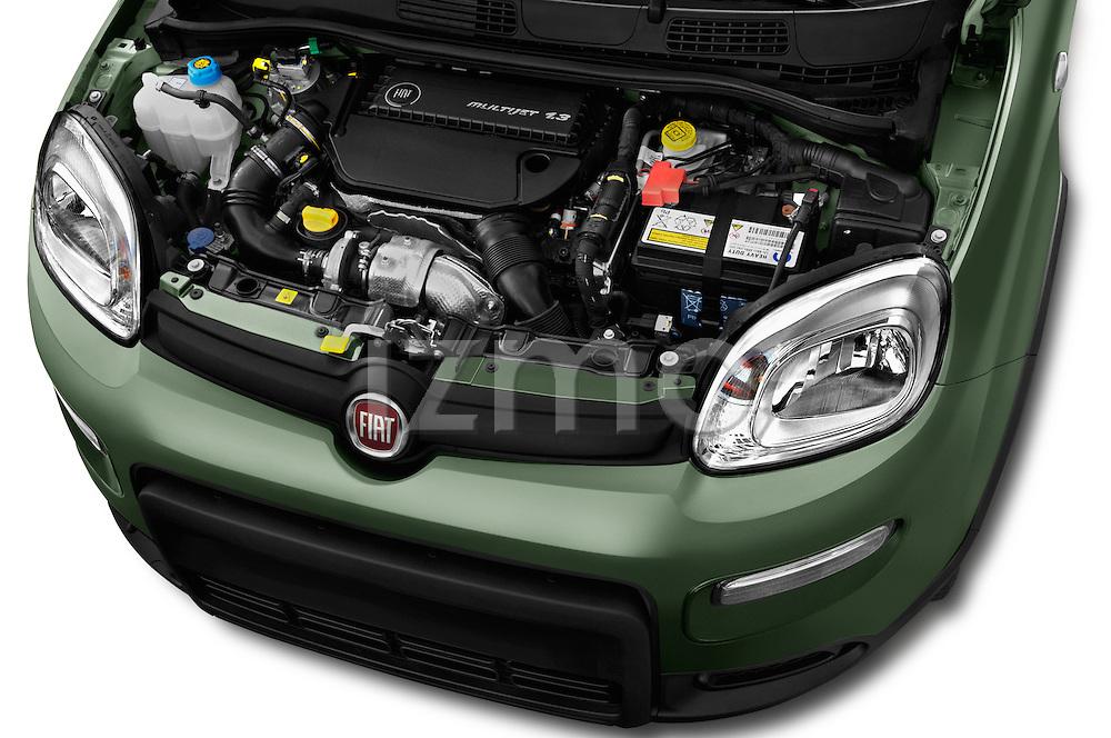 Car Stock 2016 Fiat Panda-4X4 Pop 5 Door Hatchback Engine  high angle detail view