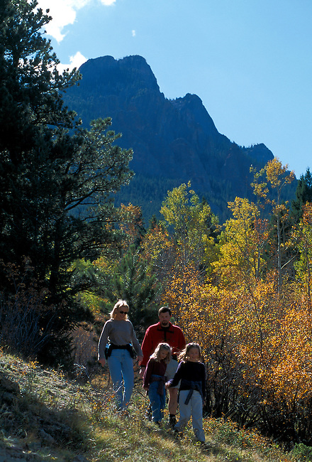 Family of four hiking on a trail through fall-colored aspen grove, Rocky Mtns, CO
