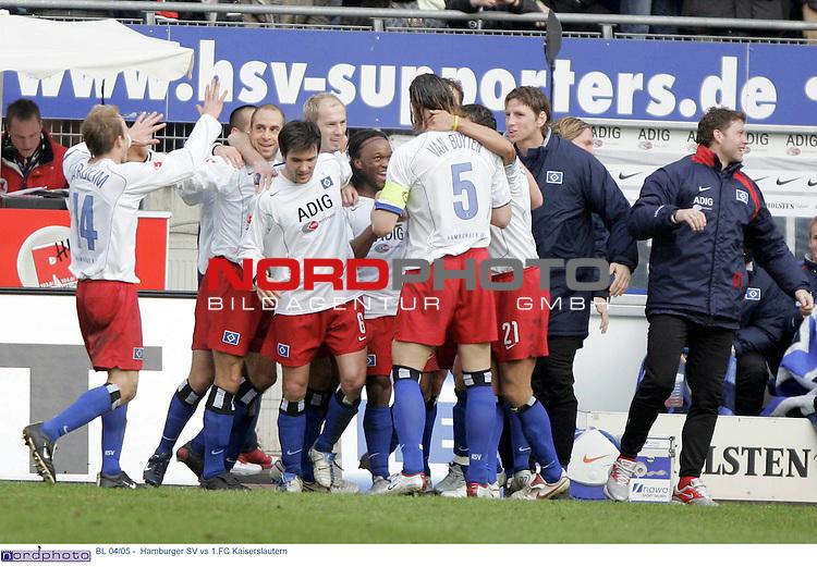 BL 04/05 -  Rueckrunde 22.Spieltag<br /> <br /> Hamburger SV vs 1.FC Kaiserslautern<br /> <br /> Emile Mpenza schiesst das 2-0 fuer Hamburg und jubelt.<br /> <br /> Foto &copy; nordphoto - Anja Heinemann<br /> <br /> <br /> <br /> <br /> <br /> <br /> <br />  *** Local Caption *** Foto ist honorarpflichtig! zzgl. gesetzl. MwSt.<br /> <br /> Belegexemplar erforderlich<br /> <br /> Adresse: nordphoto<br /> <br /> Georg-Reinke-Strasse 1<br /> <br /> 49377 Vechta