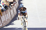 AG2R La Mondiale rider crosses the finish line of Strade Bianche 2019 running 184km from Siena to Siena, held over the white gravel roads of Tuscany, Italy. 9th March 2019.<br /> Picture: Eoin Clarke | Cyclefile<br /> <br /> <br /> All photos usage must carry mandatory copyright credit (© Cyclefile | Eoin Clarke)