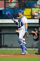 Burlington Royals catcher Chase Vallot (8) on defense against the Elizabethton Twins at Burlington Athletic Park on June 25, 2014 in Burlington, North Carolina.  The Twins defeated the Royals 8-0. (Brian Westerholt/Four Seam Images)