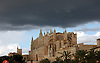 dark rain clouds over the cathedral Santa Mar&iacute;a de Palma de Mallorca<br />