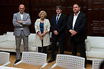 External Counselor Raul Romeva, Madrid Mayor Manuela Carmena meeting with president of Catalonia Carles Puigdemont and vice president Oriol Junqueras at Madrid Town Hall, May 22, 2017. Spain.<br /> (ALTERPHOTOS/BorjaB.Hojas)