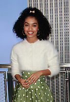 NEW YORK, NY - MARCH 8: Yara Shahidi and Mattel leadership light the Empire State Building in celebration of Barbie&rsquo;s 60th Anniversary and International Women's Day in New York City on March 8, 2019. <br /> CAP/MPI99<br /> &copy;MPI99/Capital Pictures