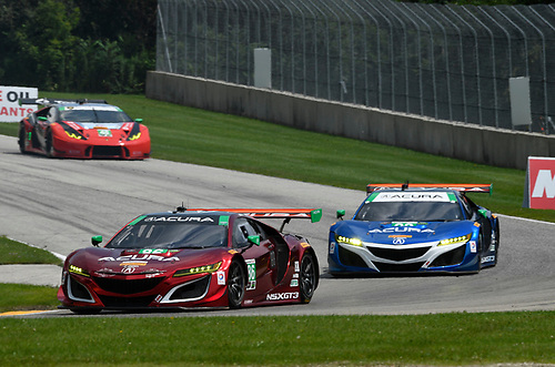 IMSA WeatherTech SportsCar Championship<br /> Continental Tire Road Race Showcase<br /> Road America, Elkhart Lake, WI USA<br /> Sunday 6 August 2017<br /> /w86, 93, Acura, Acura NSX, GTD, Andy Lally, Katherine Legge<br /> World Copyright: Richard Dole<br /> LAT Images<br /> ref: Digital Image RD_RA_2017_182