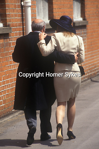 Royal Ascot. Racegoers leave after a day at the races 1980s. Ascot Berkshire UK.