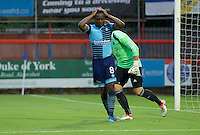 Marcus Bean of Wycombe Wanderers during the Friendly match between Aldershot Town and Wycombe Wanderers at the EBB Stadium, Aldershot, England on 26 July 2016. Photo by Alan  Stanford.