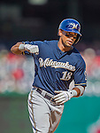23 August 2015: Milwaukee Brewers outfielder Khris Davis rounds the bases after hitting a solo home run in the 8th inning against the Washington Nationals at Nationals Park in Washington, DC. The Nationals defeated the Brewers 9-5 in the third game of their 3-game weekend series. Mandatory Credit: Ed Wolfstein Photo *** RAW (NEF) Image File Available ***