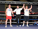 Gary O'Neill (Blue) who beat Keith Halpenny (Red) in the white collar boxing in Ardee parish centre. Photo:Colin Bell/pressphotos.ie