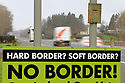 SPECIAL BREXIT FEA ON ANTRIM AND SDC TRAILERS FOR Arthur Beesley  - 9/1/2019: Traffic pass an anti Brexit sign on the main County Londonderry/Derry to County Antrim road known as the Glenshane Pass, Northern Ireland. Photo/Paul McErlane