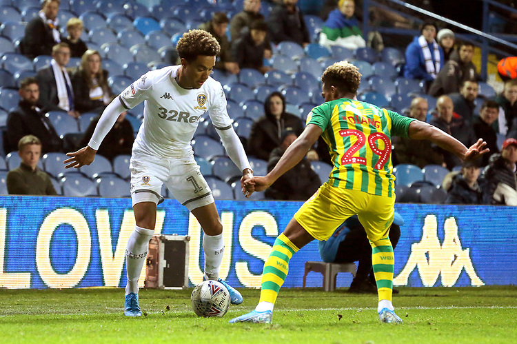 Leeds United's Helder Costa looks to take on West Bromwich Albion's Grady Diangana<br /> <br /> Photographer Rich Linley/CameraSport<br /> <br /> The EFL Sky Bet Championship - Tuesday 1st October 2019  - Leeds United v West Bromwich Albion - Elland Road - Leeds<br /> <br /> World Copyright © 2019 CameraSport. All rights reserved. 43 Linden Ave. Countesthorpe. Leicester. England. LE8 5PG - Tel: +44 (0) 116 277 4147 - admin@camerasport.com - www.camerasport.com