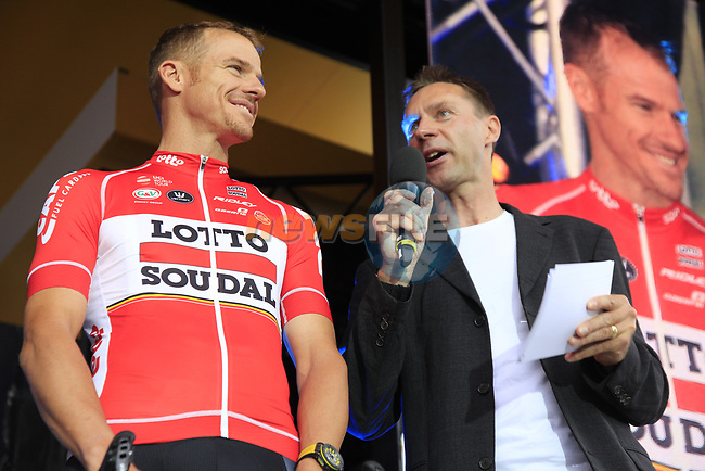 Jens Voigt talks to Adam Hansen (AUS) Lotto-Soudal team on stage at the Team Presentation in Burgplatz Dusseldorf before the 104th edition of the Tour de France 2017, Dusseldorf, Germany. 29th June 2017.<br /> Picture: Eoin Clarke | Cyclefile<br /> <br /> <br /> All photos usage must carry mandatory copyright credit (&copy; Cyclefile | Eoin Clarke)