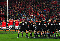 The All Blacks perform a haka before the 2017 DHL Lions Series 2nd test rugby match between the NZ All Blacks and British & Irish Lions at Westpac Stadium in Wellington, New Zealand on Saturday, 1 July 2017. Photo: Dave Lintott / lintottphoto.co.nz