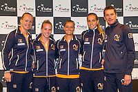 Arena Loire,  Tr&eacute;laz&eacute;,  France, 14 April, 2016, Semifinal FedCup, France-Netherlands, Draw,  Dutch team, Ltr: Kiki Bertens, Richel Hogenkamp, Cindy Burger, Arantxa Rus and Captain Paul Haarhuis<br /> Photo: Henk Koster/Tennisimages