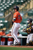 Baltimore Orioles catcher Cody Roberts (55) at bat in front of catcher Jason Delay (64) during a Florida Instructional League game against the Pittsburgh Pirates on September 22, 2018 at Ed Smith Stadium in Sarasota, Florida.  (Mike Janes/Four Seam Images)