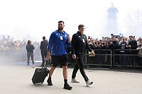Elliott Stooke, Stuart Hooper and the rest of Bath Rugby arrive at Twickenham Stadium. Gallagher Premiership match, The Clash, between Bath Rugby and Bristol Rugby on April 6, 2019 at Twickenham Stadium in London, England. Photo by: Rogan Thomson / JMP for Onside Images