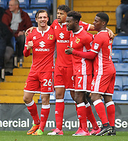 Milton Keynes Dons' Osman Sow celebrates scoring his sides first goal with team-mates<br /> <br /> Photographer Juel Miah/CameraSport<br /> <br /> The EFL Sky Bet League One - Bury v Milton Keynes Dons - Saturday 30th September 2017 - Gigg Lane - Bury<br /> <br /> World Copyright &copy; 2017 CameraSport. All rights reserved. 43 Linden Ave. Countesthorpe. Leicester. England. LE8 5PG - Tel: +44 (0) 116 277 4147 - admin@camerasport.com - www.camerasport.com