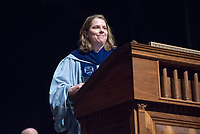 Philosophy Associate Professor Clair Morrissey, recipient of the Linda and Tod White Teaching Prize.<br /> The class of 2021 are welcomed to Occidental College by trustees, faculty and staff in Thorne Hall on Aug. 29, 2017 during Oxy's 130th Convocation ceremony, a tradition that formally marks the start of the academic year and welcomes the new class.<br /> (Photo by Marc Campos, Occidental College Photographer)