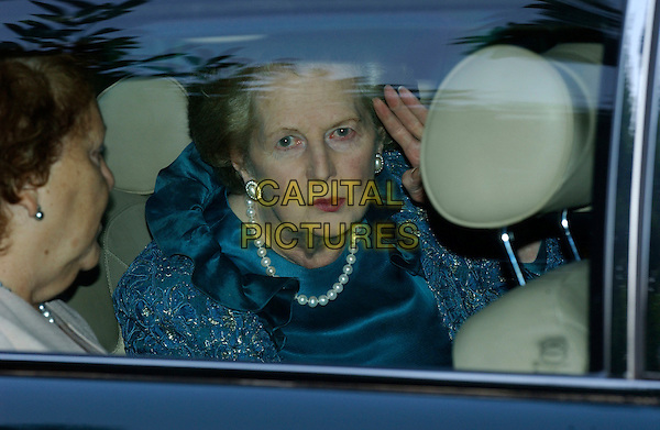 MARGARET THATCHER.Leaving David Frost Summer Party..July 6th, 2004.Ref: FIN.car headshot portrait pearl necklace.www.capitalpictures.com.sales@capitalpictures.com.© Capital Pictures.