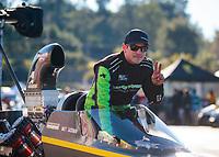 Feb 11, 2019; Pomona, CA, USA; NHRA top alcohol dragster driver Matt Sackman during the Winternationals at Auto Club Raceway at Pomona. Mandatory Credit: Mark J. Rebilas-USA TODAY Sports