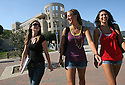 CSUSM students are happy to be back at school in San Marcos, California, on the first day of the fall semester in 2009. Behind them is Craven Hall.  photo for North County Times