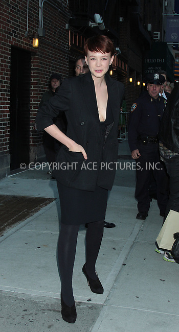 WWW.ACEPIXS.COM . . . . .  ....October 7 2009, New York City....Actress Carey Mulligan made an appearance at the ''Late Show with David Letterman'' at the Ed Sullivan Theater on October 7, 2009 in New York City.....Please byline: AJ Sokalner - ACEPIXS.COM..... *** ***..Ace Pictures, Inc:  ..tel: (212) 243 8787..e-mail: info@acepixs.com..web: http://www.acepixs.com