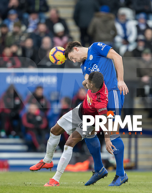 Harry Maguire of Leicester City clears from Marcus Rashford of Man Utd during the Premier League match between Leicester City and Manchester United at the King Power Stadium, Leicester, England on 3 February 2019. Photo by Andy Rowland.