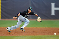 Coastal Carolina Chanticleers third baseman Zach Remillard (7) tracks a ground ball against the High Point Panthers at Willard Stadium on March 15, 2014 in High Point, North Carolina.  The Panthers defeated the Chanticleers 11-8 in game two of a double-header.  (Brian Westerholt/Four Seam Images)