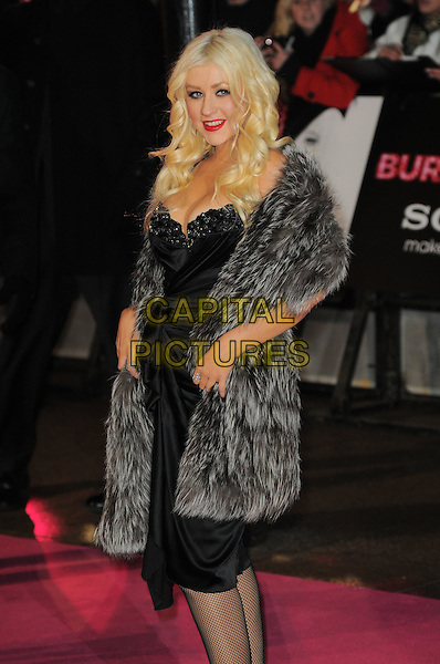 CHRISTINA AGUILERA .'Burlesque' UK Gala premiere at the Empire Cinema, Leicester Square, London, England, UK,.13th December 2010..half length black dress strapless cleavage red lipstick grey gray fur wrap  ruched .CAP/CAS.©Bob Cass/Capital Pictures.