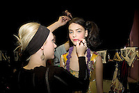 LONDON FASHION WEEK....  Manish Arora  models backstage..... .
