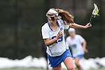 22 February 2015: Duke's Maddie Crutchfield. The Duke University Blue Devils hosted the College of William & Mary Tribe on the West Turf Field at the Duke Athletic Field Complex in Durham, North Carolina in a 2015 NCAA Division I Women's Lacrosse match. Duke won the game 17-7.