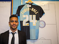 Paris Cowan-Hall of Wycombe Wanderers signs on loan during the Sky Bet League 2 match between Wycombe Wanderers and Leyton Orient at Adams Park, High Wycombe, England on 23 January 2016. Photo by Andy Rowland / PRiME Media Images.