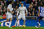 Real Madrid´s Gareth Bale and Deportivo de la Coruna's Celso Borges during 2014-15 La Liga match between Real Madrid and Deportivo de la Coruna at Santiago Bernabeu stadium in Madrid, Spain. February 14, 2015. (ALTERPHOTOS/Luis Fernandez)