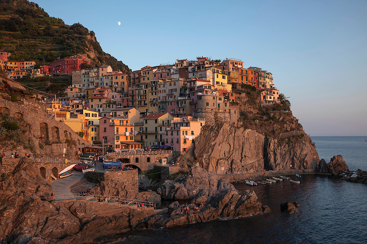 Day's fading light on Manarola located on the Cinque Terre coastline
