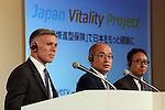 """July 21, 2016, Tokyo, Japan - Japan's insurer Sumitomo Life Insurance president Masahiro Hashimoto (C), accompanied by South African insurer Discovery Ltd. Chief executive Adrian Gore (L) and Japanese communication giant Softbank president Ken Miyauchi (R) announce Sumitomo will develop the new insurance product """"Japan Vitality Project"""" with other two companies at a press conference in Tokyo on Thursday, July 21, 2016. The new life insurance has lower premiums to more healthy conscious people using health care devices or smartphones with health care applications.     (Photo by Yoshio Tsunoda/AFLO) LWX -ytd-"""