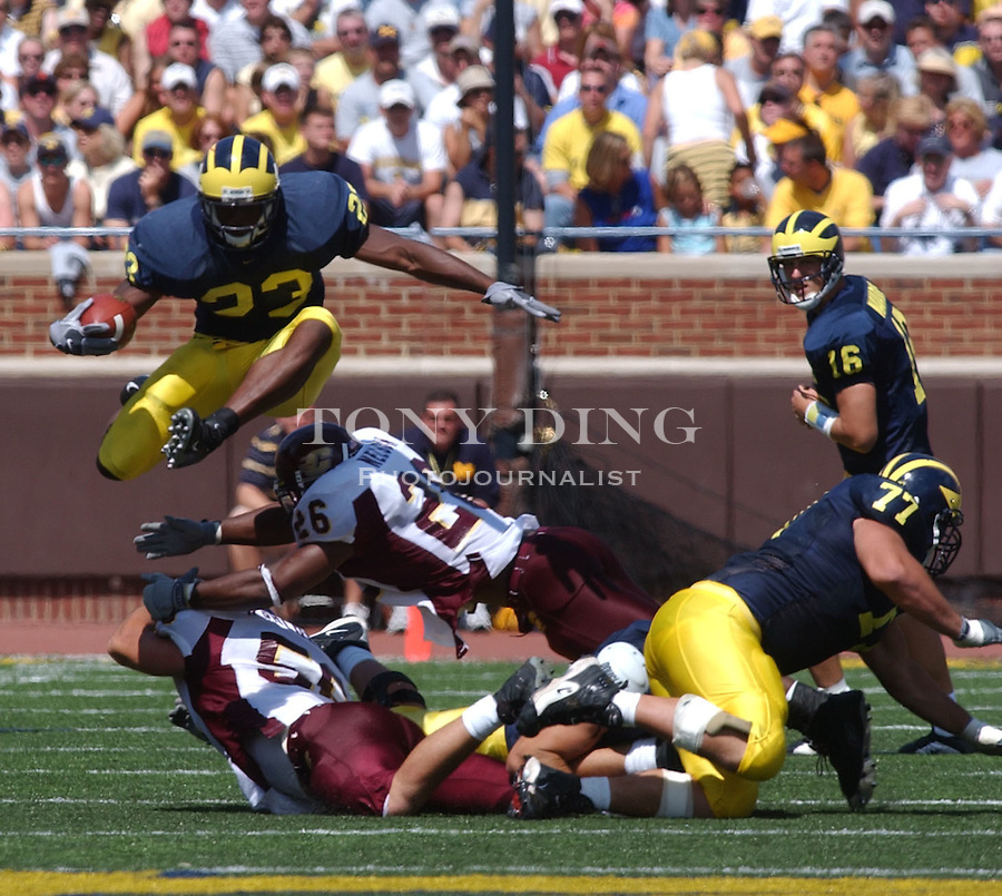 during the Wolverine's 45-7 crushing of Central Michigan at Michigan's first game of the season on Saturday, August 30, 2003 in Michigan Stadium in Ann Arbor, Mich. (TONY DING/The Michigan Daily).