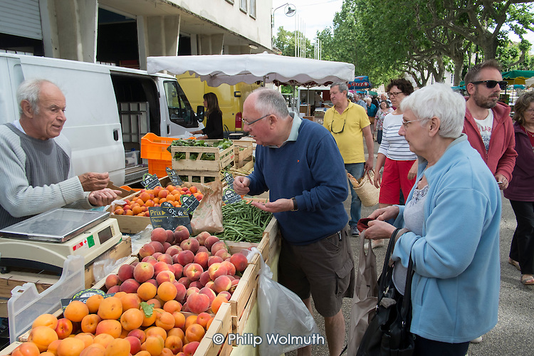 Weekly food market in St Jean du Gard, Languedoc-Roussillon-Midi-Pyrénées, France.