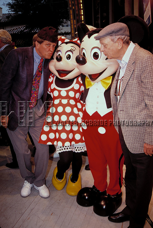George Lindsey  & Don Knotts with Mickey & Minnie Mouse attending an ANDY GRIFFITH SHOW Reunion at the Disney MGM Studios, Walt Disney World Theme Park in Orlando, Florida. August 11, 1992