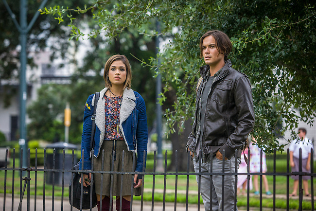 "Nicole Gale Anderson as Miranda and Tyler Blackburn as Caleb in ABC Family's ""Ravenswood""."