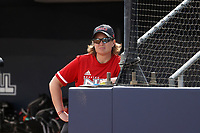 GREENSBORO, NC - MARCH 11: Head coach Christina Sutcliffe of Northern Illinois University during a game between Northern Illinois and UNC Greensboro at UNCG Softball Stadium on March 11, 2020 in Greensboro, North Carolina.