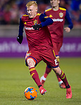 Real Salt Lake defender Justen Glad (15) takes the ball down field in the first half Saturday, March 17, 2018, during the Major League Soccer game at Rio Tiinto Stadium in Sandy, Utah. (© 2018 Douglas C. Pizac)