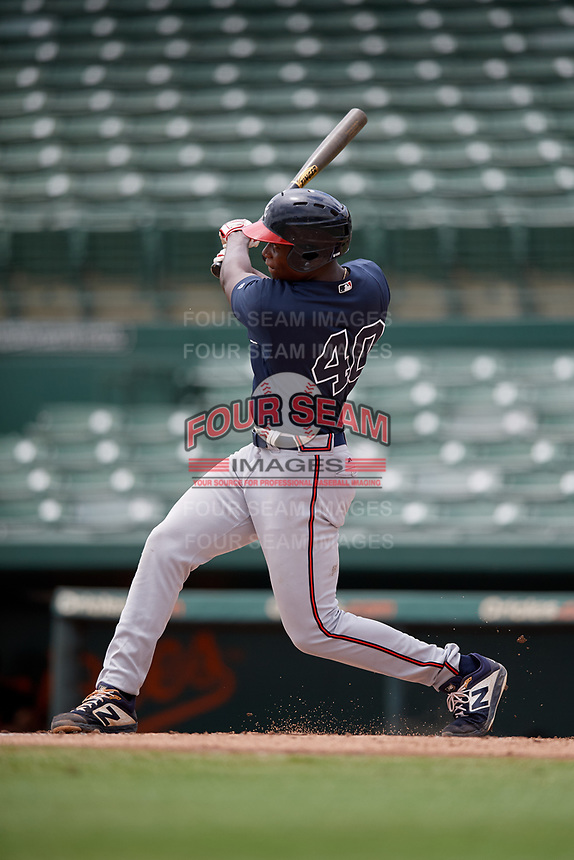 GCL Braves Mahki Backstrom (40) hits his first professional home run during a Gulf Coast League game against the GCL Orioles on August 5, 2019 at Ed Smith Stadium in Sarasota, Florida.  GCL Orioles defeated the GCL Braves 4-3 in the second game of a doubleheader.  (Mike Janes/Four Seam Images)