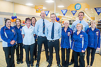 Thursday  21 July 2016<br /> Pictured: Store Manager David Young with Aldi team members prior to opening the new store. Re: ALDI Haverfordwest Grand Re-opening