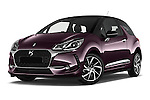 Stock pictures of low aggressive front three quarter view of 2016 Ds DS3 So-Chic 3 Door hatchback Low Aggressive
