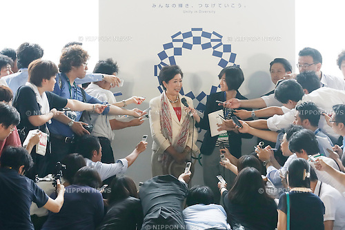 Yuriko Koike, AUGUST 24, 2016 : The Olympic flag welcoming ceremony at Haneda Airport in Tokyo, Japan. The Olympic flag was received to Tokyo governor from IOC President at the Rio de Janeiro 2016 Olympic Games closing ceremony on August 21. Tokyo is host of the 2020 Olympic games. (Photo by Sho Tamura/AFLO SPORT)